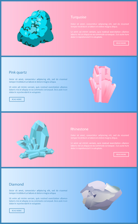 Turquoise and pink quartz, rhinestone and diamond minerals and precious gemstones, expensive minerals and crystals, vector web online posters set