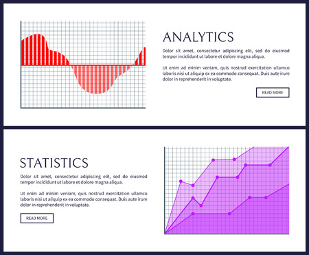 Analytics and statistics web informative posters. Graphics with bars and curves in progress. Graphic on checkered field isolated vector illustrations.
