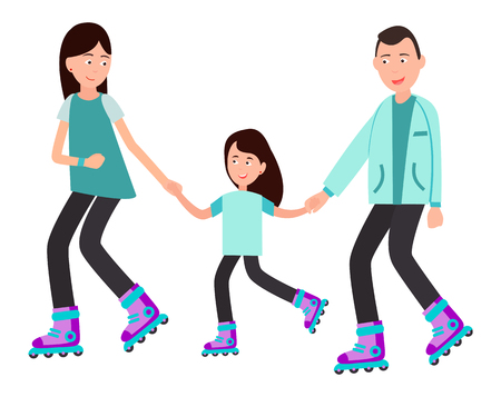 Family roller skating together vector illustration isolated on white background. Parents teach child to skate on rollers, spending time together concept