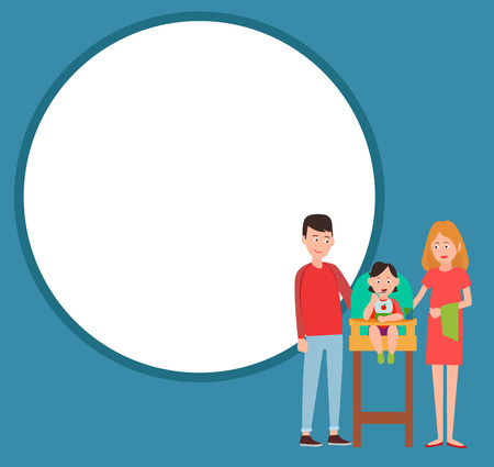 Infant child eating from bowl in baby chair, mother and father proud of him vector isolated on background of round frame for text, happy parenthood concept Ilustração