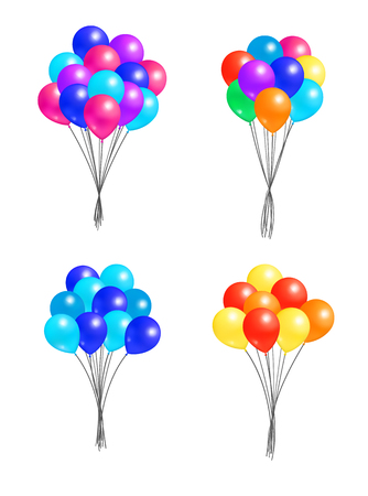 Set of bunches of helium colorful air balloons isolated on white background. Blown rubber inflatable balloon, multicolor creative elements on birthday