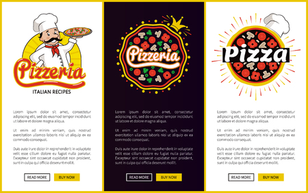 Pizzeria with Italian Recipes Promo Banners Set Illustration