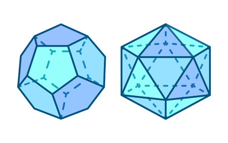 Dodecahedron and Icosahedron Vector Illustration