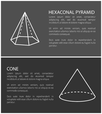Hexagonal pyramid and cone, set of banners with text easy to edit and headlines, pyramid and cone, vector illustration isolated on black background