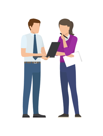 Man and woman discussing startup project issues vector illustration of business people isolated on white. Male with notebook and thoughtful woman