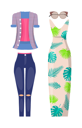 Summer stylish outfits casual and elegant. Ripped jeans with checkered shirt, long dress with floral print and modern sunglasses vector illustrations. Illustration