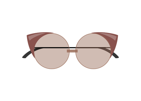 Stylish female cat-eye glasses of rounded shape. Fashionable glasses to protect eyes form sun. Fancy summer sunglasses isolated vector illustration. Ilustração