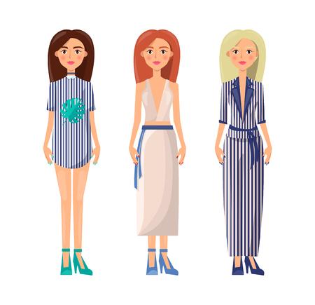 Women Wearing Summer Clothes Vector Illustration Banque d'images - 104455016