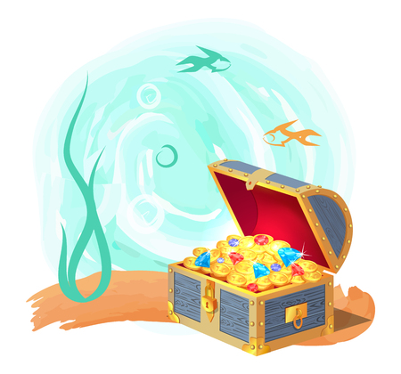 Mysterious chest of treasures at sea bottom. Gold coins and precious gems surrounded with fishes and seaweed isolated cartoon vector illustration. Illustration