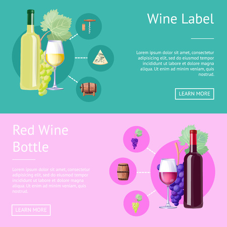 Wine label and bottle of red internet banners. Alcohol drink made of ripe grapes and kept in barrels. Tasty wine in glasses vector illustrations.