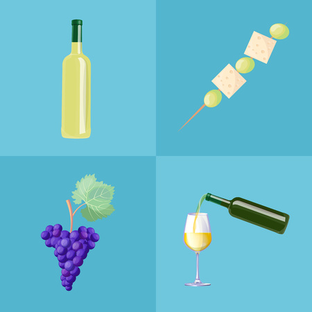 Wine bottles, ripe grapes and tasty canape of cheese cubes and olives. Wine production ingredient and delicious small snack vector illustrations set. Illustration