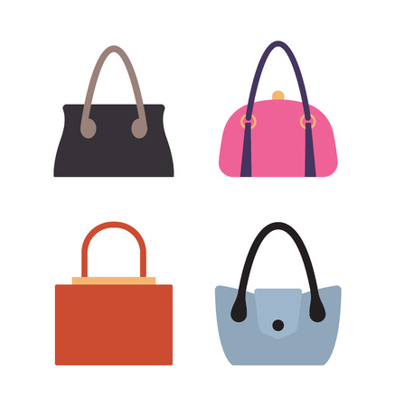 Collection of women bags stylish accessories for females vector illustration isolated on white. Leather handbags, bags with handles and locks set