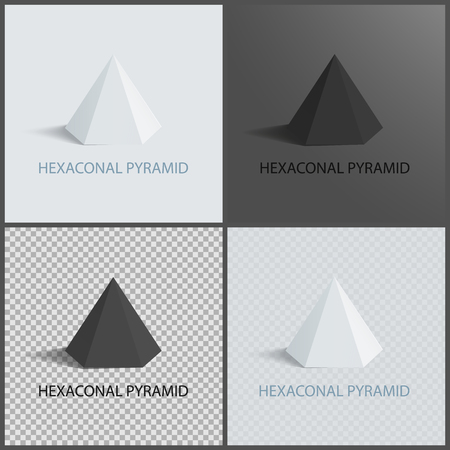Hexagonal Pyramid on Dark Light and Transparent Illustration