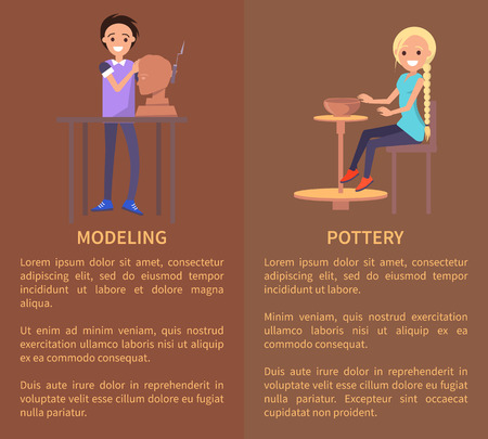 Modeling and Potterry, Color Vector Illustration