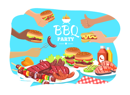 BBQ party poster, colorful vector illustration, grill food collection, tasty BBQ sausages and vegetables, varied meat steaks, burgers and hot dogs
