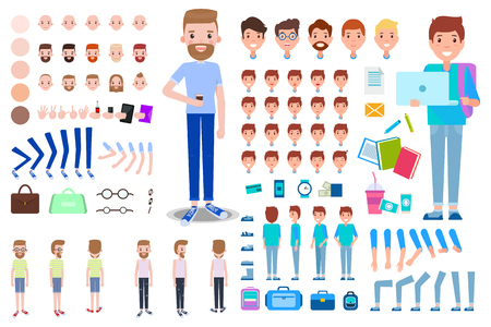 Animated businessman student constructor, head with various emotions, skin colors and hairstyles, gesture signs and accessories glasses and cases vector