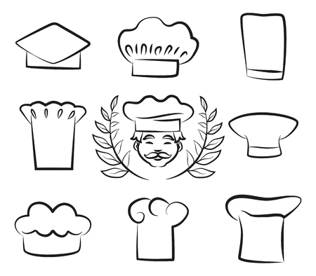Set of Chef Hats with Cook Man in White Headwear