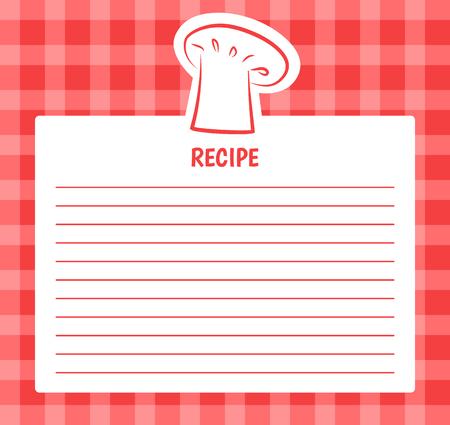 Disegno dell'elenco di ricette con cappello da cuoco, pagina vuota da scrivere in ordine o ricevuta, banner con posto libero per testo, ingredienti e passaggi del vettore di cottura