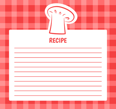 Receptenlijstontwerp met chef-kokhoed, lege pagina om op volgorde of ontvangstbewijs te schrijven, banner met vrije plaats voor tekst, ingrediënten en kookstappen Vector