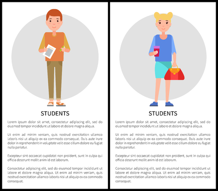 Students college pupils with sheet of paper and bags set of posters with freshmen student girl and boy vector illustrations with text isolated on white