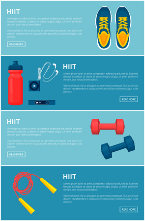 Hiit sport equipment set, colorful vector banner, illustration with sneakers jumping rope and dumbbells, bottle and mp3 player, device for pulse check Illustration