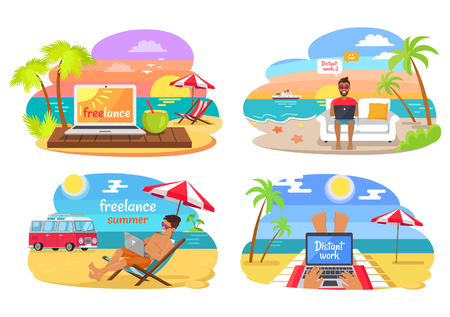 Freelance and distant work, man sitting on sofa with laptop, distant work and freelance at seaside, palms and hot sand isolated on vector illustration