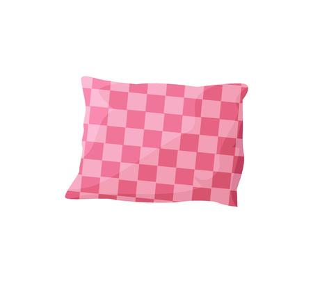 Plantilla de almohada cómoda, fondo blanco, ilustración vectorial con cojín de sofá, patrón cuadrado, almohada de color rosa, elemento decorativo único