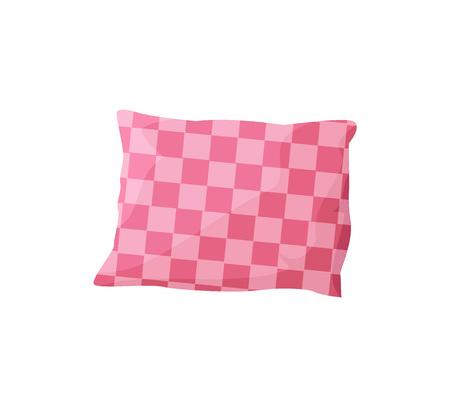 Comfortable pillow template, white background, vector illustration with sofa cushion, square pattern, pink color pillow, single decoration element