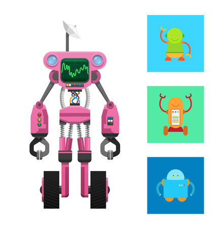 Pink robot machine on two black wheels vector card, illustration with three droids in colorful squares, robot with dark display and round antenna Illustration