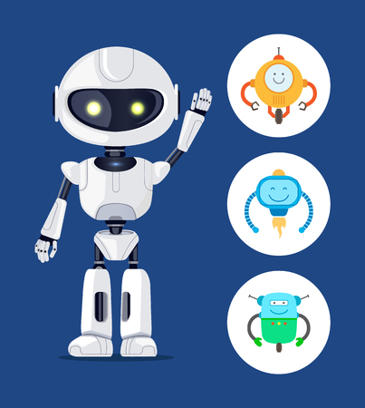 White cyborg with raising hand, vector poster, blue background, yellow cyborgs eyes, circles set with small droids, smiling robots with curved hands