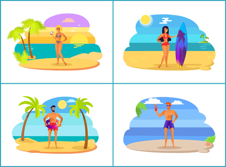 Men and women on summer vacation near sea set. People on beach among palms and sea. Summer vacation at tropical country isolated vector illustrations.