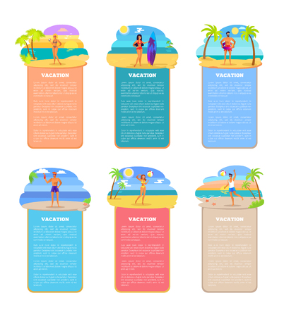Vacation set posters collection, text sample and headlines, people by seaside with drinks and surfboard, vacation isolated on vector illustration Illustration