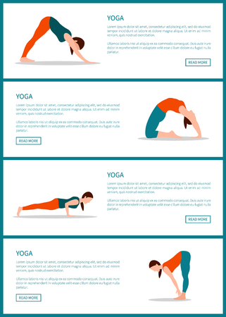 Yoga web pages collection, text sample and pose from yoga, internet sites with button and headline vector illustration isolated on white background Çizim