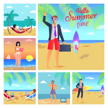 Hello summer time business vector illustration with successful people on resort, various surfboards, beauty landscapes, many gadgets, happy workers
