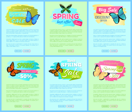 Sale spring discount labels on online poster butterflies with dots, ornaments and antenna, morpho springtime creatures vector promo label sale concept Stock Vector - 105603177