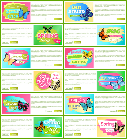 Only today spring sale set of web pages with text sample and headlines, butterflies and spring sale offers vector illustration, isolated on white