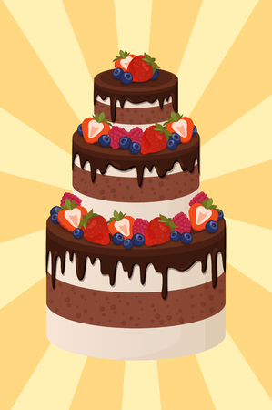 Three-tier wedding cake with chocolate and cream layers decorated with ripe sweet strawberries isolated cartoon flat vector illustration on background with rays 向量圖像