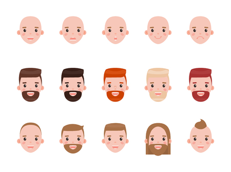 Male heads with various hairstyles and mood set. Faces that express happiness and frustration with modern haircuts isolated vector illustrations. 向量圖像