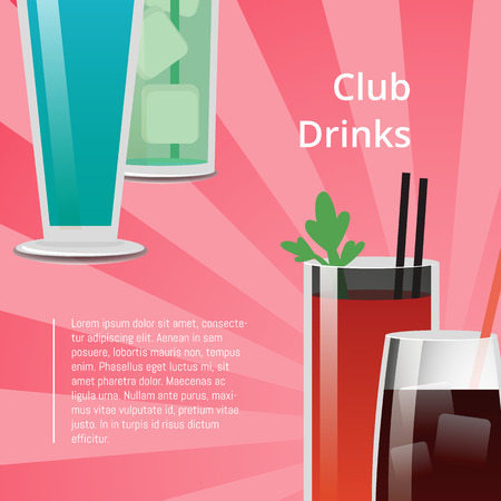 Club Drinks Poster Bloody Mary Cocktail, Whiskey