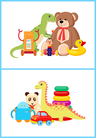 Robot and dinosaurs toy set, teddy bear and duck, car and panda toys collection for children to play, vector illustration isolated on white background Banque d'images - 104439286