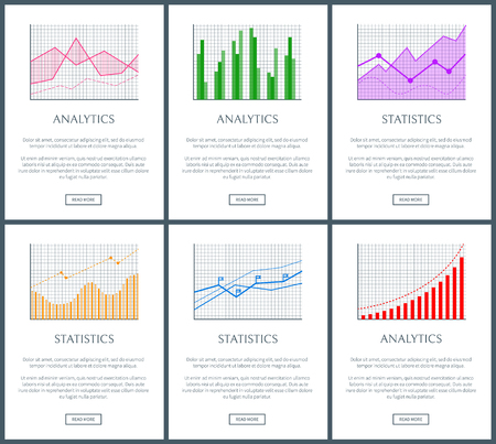 Statistics charts and analytics color diagrams set, text sample and push buttons vector illustration, flags and grids, curved diagrams, colorful plots 向量圖像
