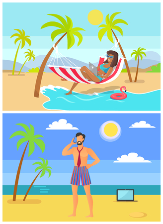 Suntanned woman and man in trunk and tie on sandy beaches. Freelancers work at tropical resort on beach under tall palms vector illustrations set.