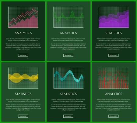 Statistics plots and analytics graphs vector cards, illustration with green frames, analytics data, colorful charts set, statistics information set