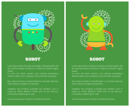 Funny Mechanical Robots on Promotional Posters Set