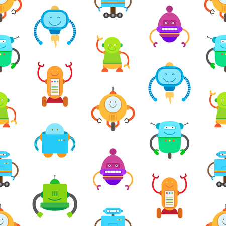 Robots seamless pattern with friendly robots with artificial intellect, set of creatures with mind, vector illustration isolated on white background