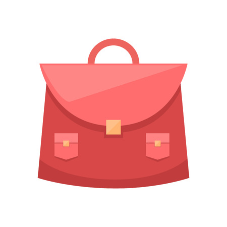 Red schoolgirl bag with metal clip and two pockets vector illustration leather purse isolated on white background, schoolbag for girl flat style icon Çizim