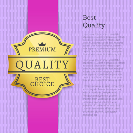 Best quality premium quality best choice poster decorated by golden label vector illustration with gold label isolated on purple banner, place for text
