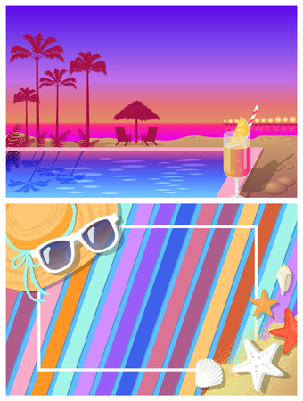 Summer landscape and beach coposition. Pool and cocktail with palms behind at sunset and blanket on sand with summer accessories vector illustrations.