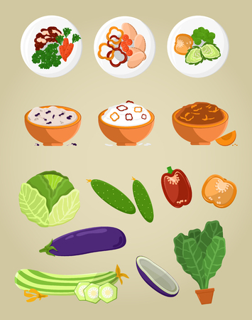 Vegetarian food collection, bowl with vegetarian food meal and plates cabbage and pepper cucumber set vector illustration isolated on white background