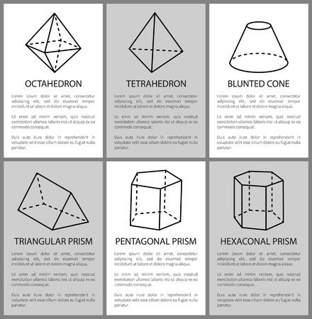 Tetrahedron and octahedron, pentagonal prism sketch, vector illustration, blunted cone, hexagonal and triangular prisms, varied geometric figures set Illustration